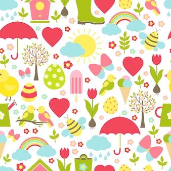 Patrón de primavera sin costuras bastante delicado en un diseño ajetreado con los icónicos favoritos de la primavera que representan el clima