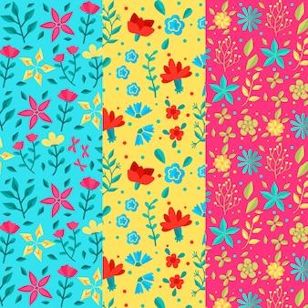 Patrón de primavera de diseño plano de flores de colores vivos