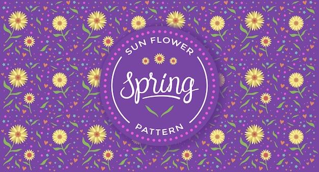 Patrón de primavera de flor de sol con fondo púrpura