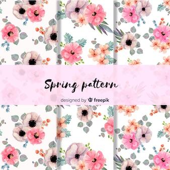Patrón primavera floral acuarela