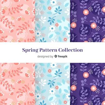Patrón primavera floral plano