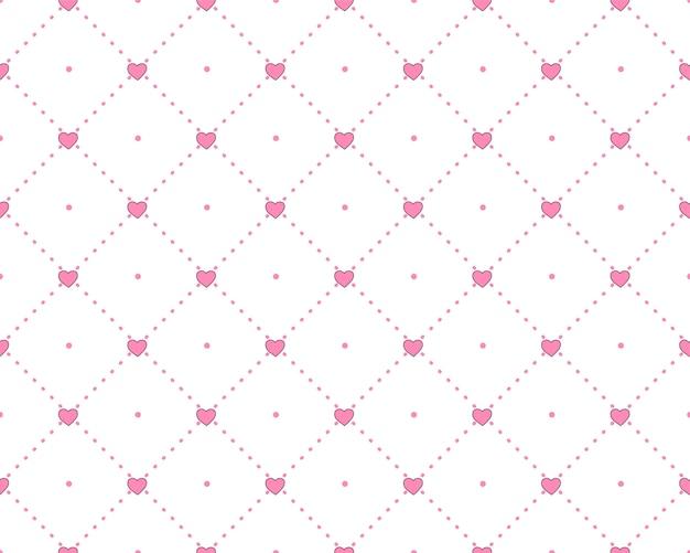 Patrón de princesa con estructura geométrica y corazones de color rosa.