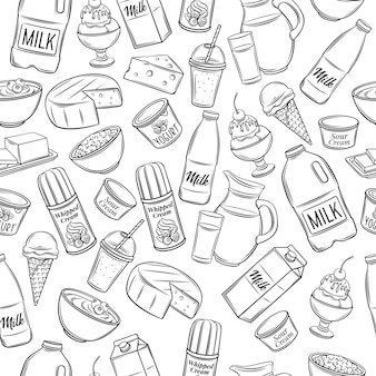 Patrón de producto lácteo dibujado a mano