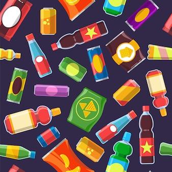 Patrón de productos de aperitivos. alimentos para máquinas expendedoras bebidas frías refresco de cola paquete poco saludable de chips galletas galletas vector plano sin costuras