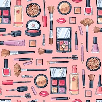 Patrón de productos de maquillaje dibujado a mano