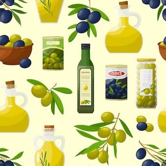 Patrón con productos de oliva
