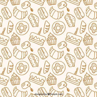 Patrón de productos de panadería dibujados a mano