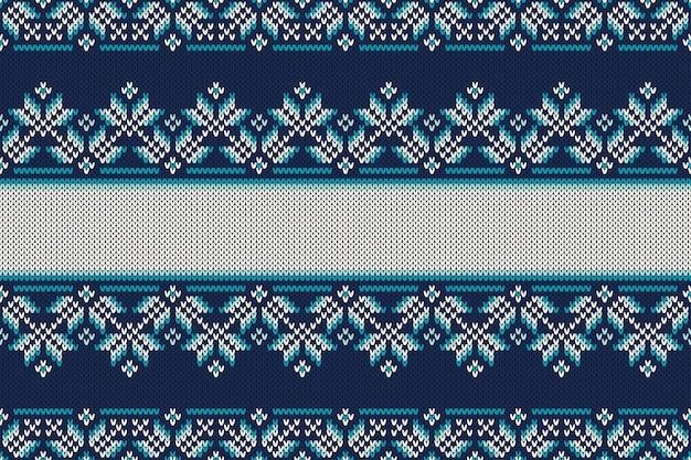 Patrón de punto sin costuras estilo fair isle tradicional. fondo de tejido de diseño de navidad y año nuevo con un lugar para texto