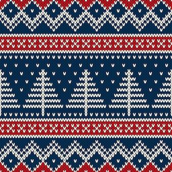 Patrón de punto sin costuras de vacaciones de invierno con árbol de navidad