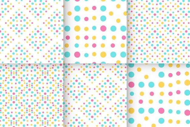 Patrón de puntos de bebé transparente colorido geométrico
