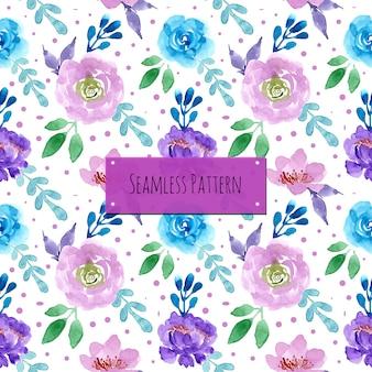 Patrón púrpura azul con acuarela floral