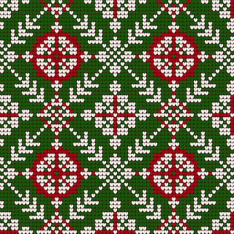 Patrón que hace punto de la navidad de la abuela en colores rojo, verde y blanco