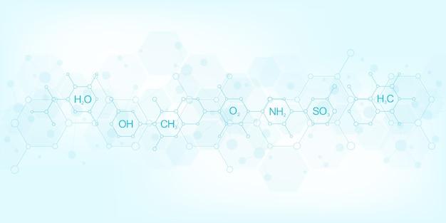 Patrón de química abstracta sobre fondo azul oscuro con fórmulas químicas y estructuras moleculares. concepto de ciencia e innovación tecnológica.
