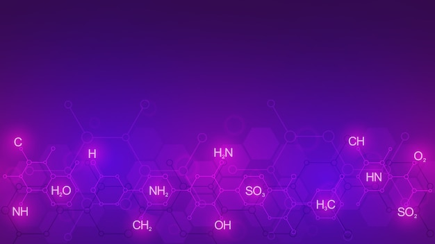 Patrón de química abstracta sobre fondo púrpura con fórmulas químicas y estructuras moleculares. plantilla con concepto e idea de tecnología de ciencia e innovación.