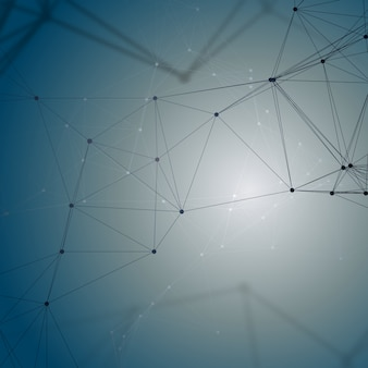 Patrón de química, líneas y puntos de conexión, estructura de moléculas en azul, investigación científica de adn médico