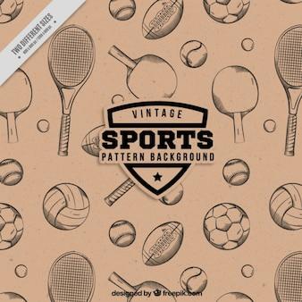 Patrón de raquetas y bolas dibujadas a mano