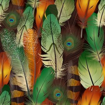 Patrón realista de plumas