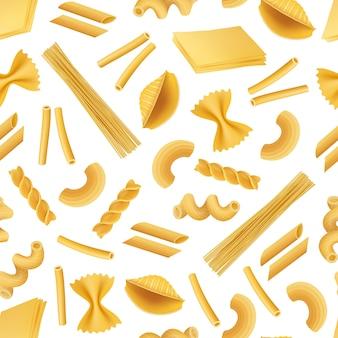 Patrón realista de tipos de pasta