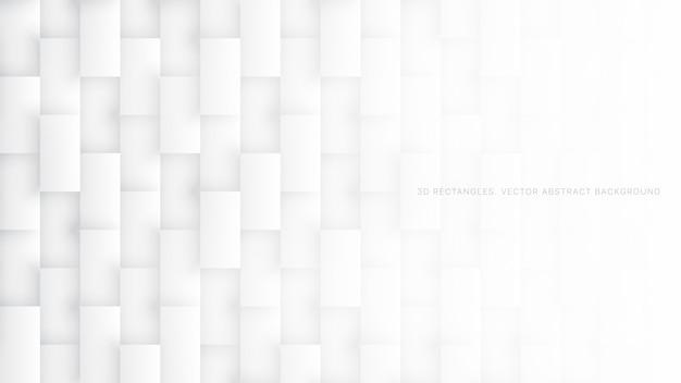 Patrón de rectángulos 3d fondo abstracto blanco simple