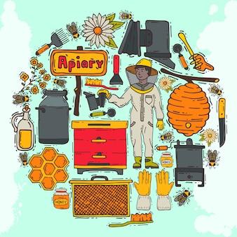 Patrón redondo de apicultura, ilustración de colmenar. cursos de apicultura en línea. taller de apicultura. herramientas y equipos de apicultura. panal, miel de colmena, tarro con miel orgánica.
