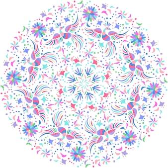 Patrón redondo bordado mexicano. patrón étnico colorido y adornado. fondo claro de pájaros y flores. fondo floral con adornos étnicos brillantes.