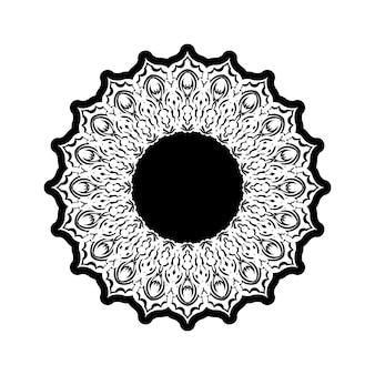 Patrón redondo ornamental con elementos florales para un libro de colorear moderno e inteligente para adultos, diseño de camisetas o tatuajes. fondo de doodle zen dibujado a mano