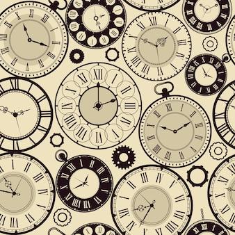 Patrón de reloj vintage. viejo retro relojes concepto de tiempo rápido de fondo sin fisuras. reloj de patrón de ilustración y esfera de reloj antiguo