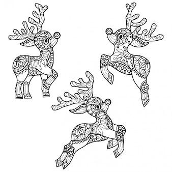 Patrón de renos dibujado a mano ilustración boceto para colorear para adultos