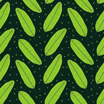 Patrón de repetición abstracta de hojas de plátano