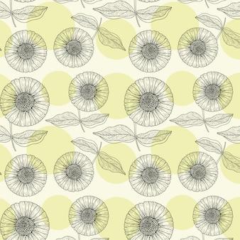 Patrón de repetición de flor de sol