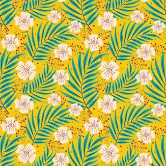 Patrón de repetición floral de hojas tropicales