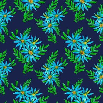 Patrón de repetición floral sobre fondo oscuro