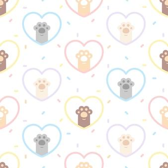 Patrón de repetición de fondo transparente de huella de pata de gato lindo, papel tapiz, lindo patrón sin costuras