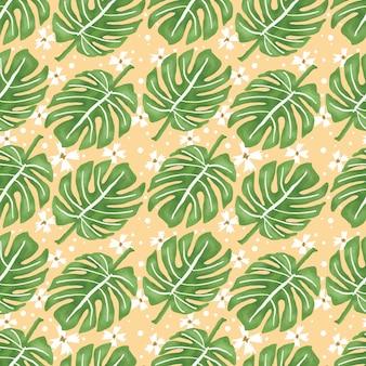 Patrón de repetición de hojas tropicales