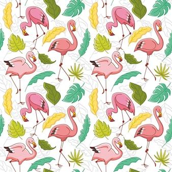 Patrón repetitivo de pájaro flamenco rosado con hojas tropicales