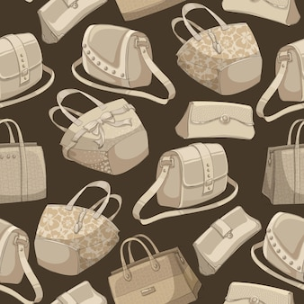 Patrón retro de bolsos con estilo de mujer sin costuras