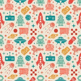 Patrón retro de ciencia ficción. objetos coloridos