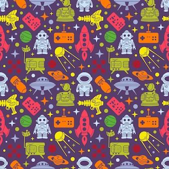 Patrón retro de ciencia ficción. objetos multi coloreados en el fondo oscuro