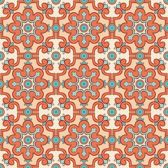 Patrón retro con flores naranjas