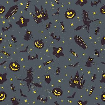 Patrón retro de halloween