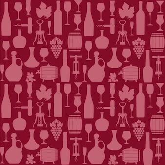 Patrón rojo de elementos de vino
