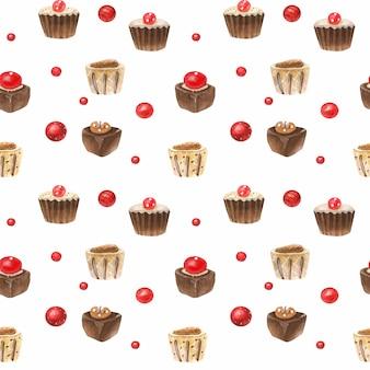 Patrón romántico dulce acuarela con caramelos de chocolate