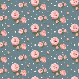 Patrón de rosa transparente fondo floral diseño de flores vintage