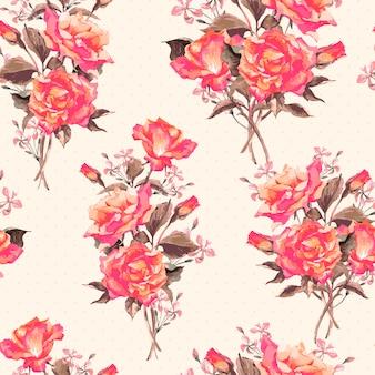 Patrón de rosas florecientes acuarela vintage