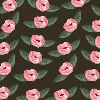 Patrón de rosas y hojas