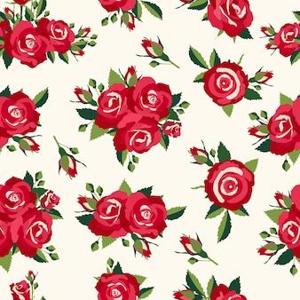 Patrón de rosas vintage, fondo en estilo retro para diseño de amor