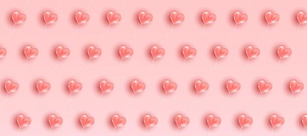 Patrón de san valentín. composición de marco romántico con corazones voladores rosas.
