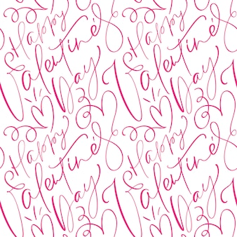 Patrón de san valentín con lindo texto caligráfico feliz día de san valentín