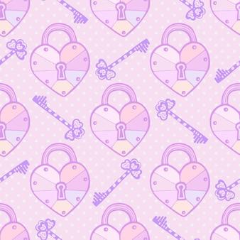 Patrón de san valentín. textura inconsútil del vector lindo con corazones y llaves en colores pastel. fondo de amor