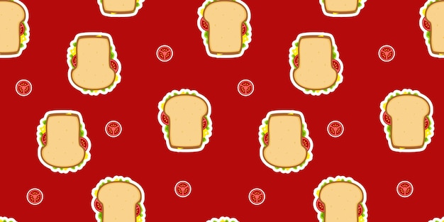 Patrón de sandwich de pan de trigo sin costuras